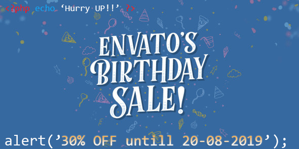Envato birthday sale 30% OFF